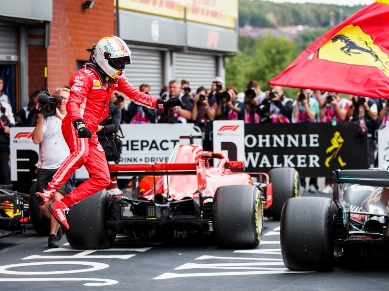 SSebastian Vettel triumphed over Lewis Hamilton in 2018