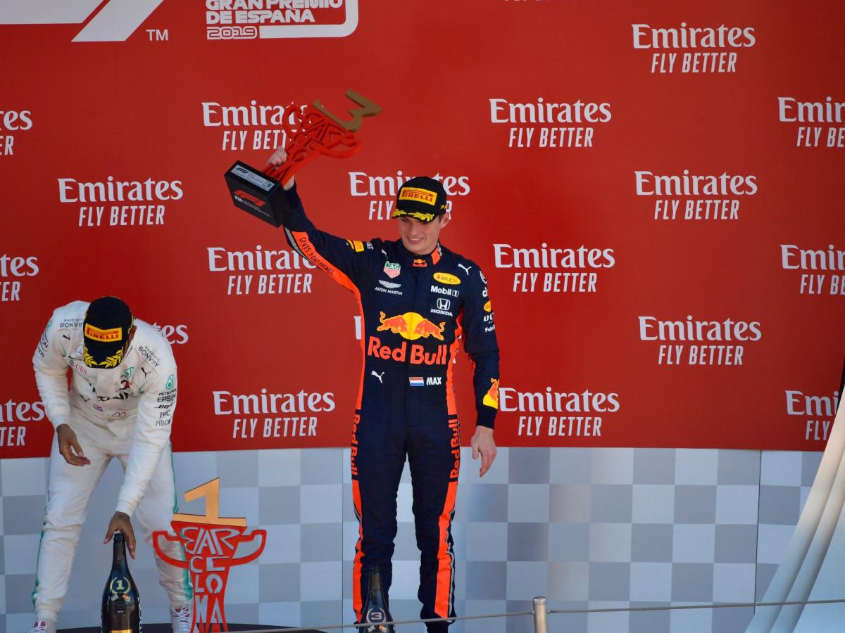 Max Verstappen on the podium in Barcelona