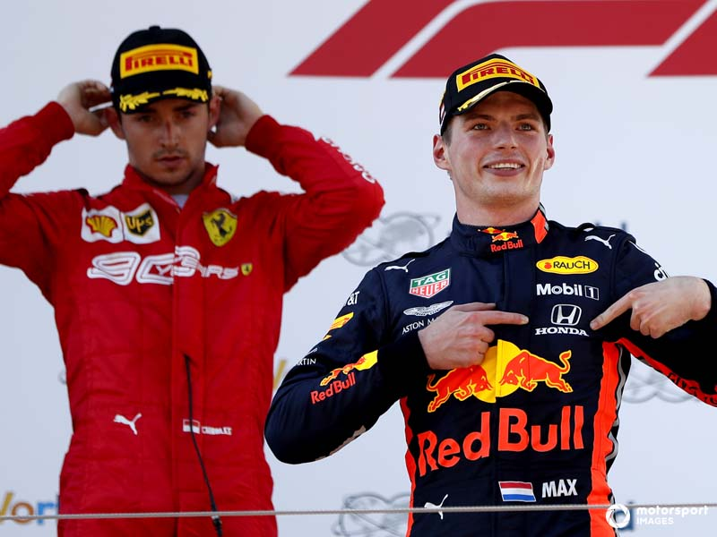 Verstappen and Leclerc share a podium