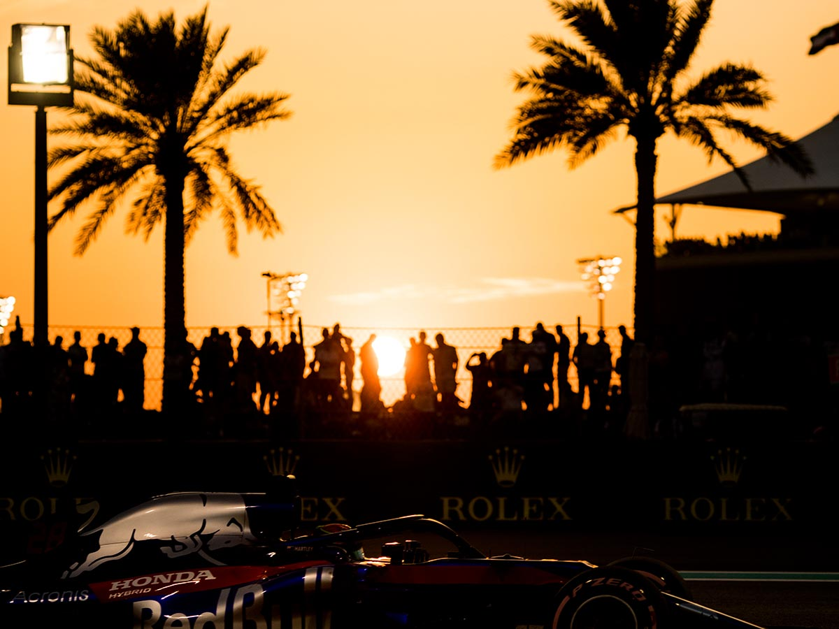 The sun sets over the Yas Marina circuit