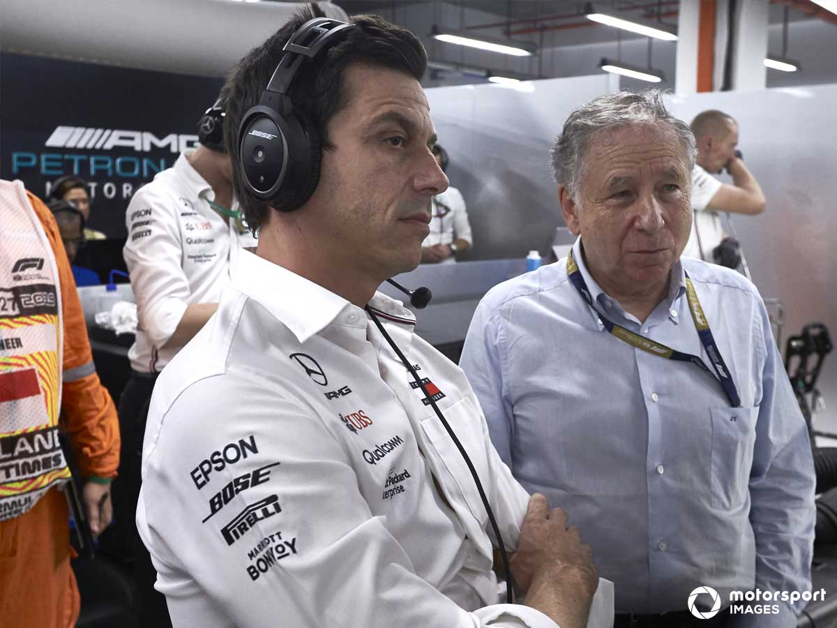 Toto Wolff and Jeand TOdt in the Mercedes Garage