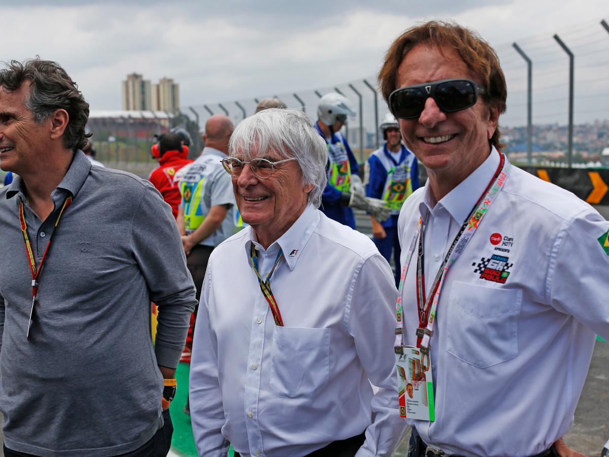 Bernie Ecclestone, with Nelson Piquet and Emerson Fittipaldi