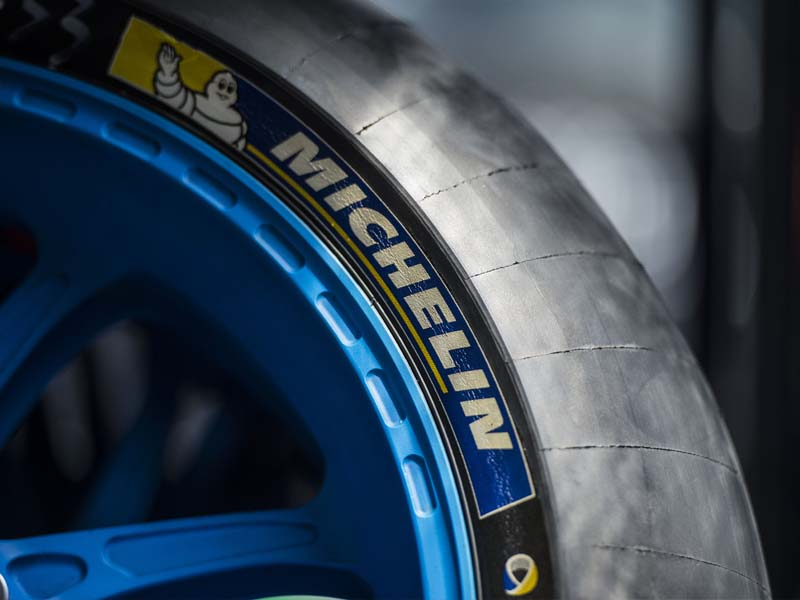 A racing slick Michelin tyre in MotoGP