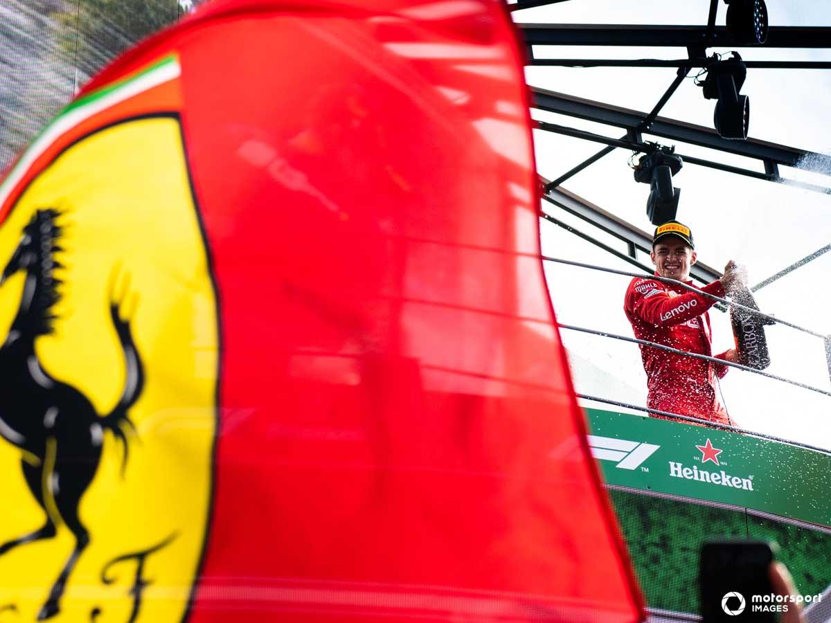 Leclerc celebrates on the Monza podium